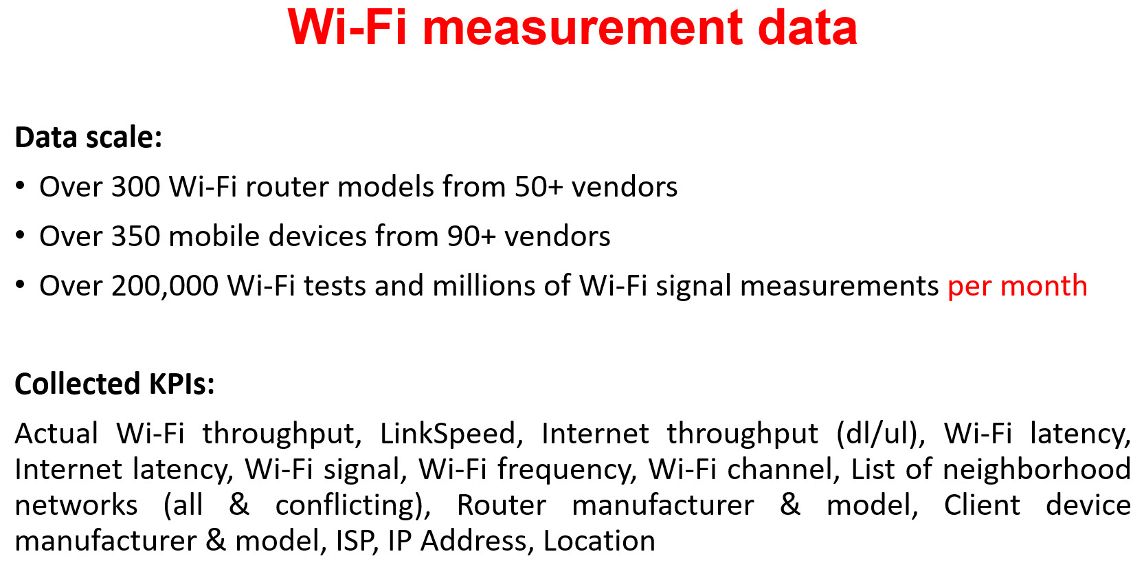 Wi-Fi Measurement data