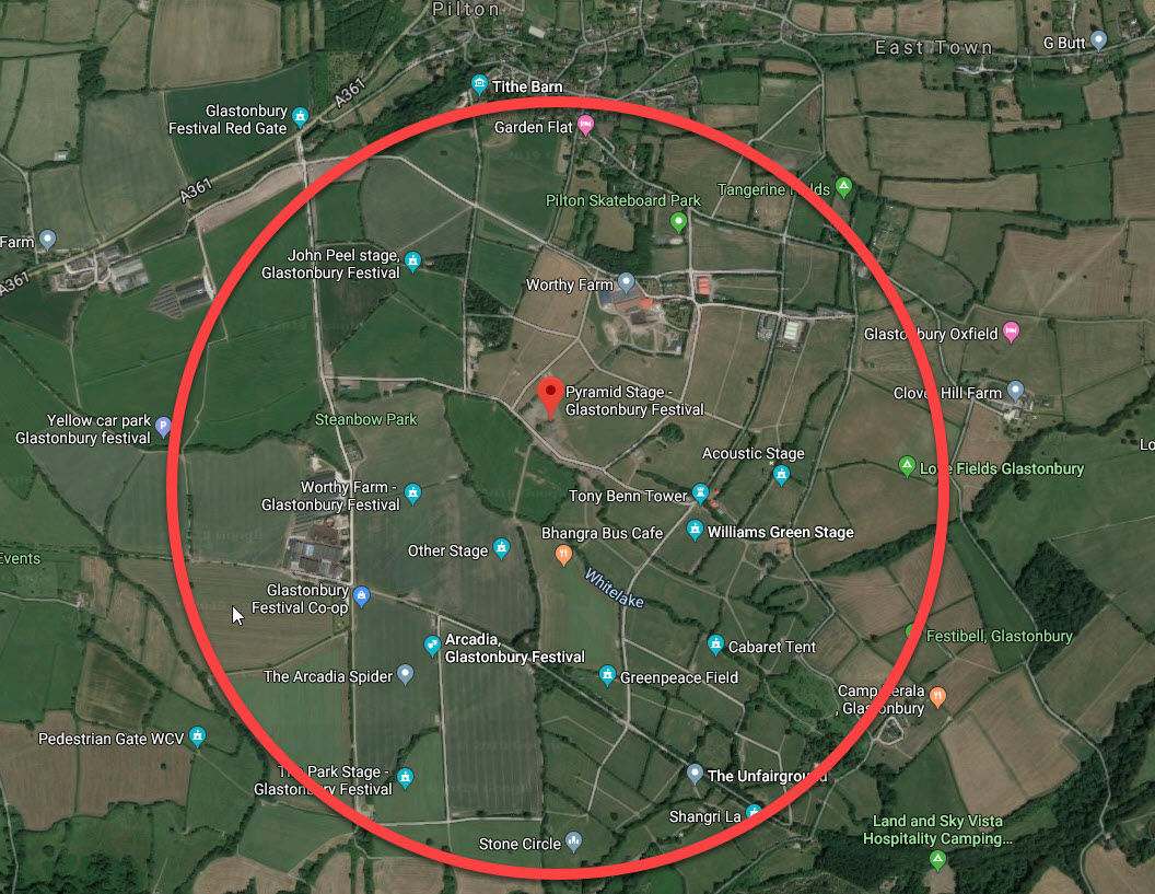 Aerial view of Glastonbury showing internet data coverage